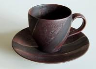 プラチナ錬釉彩コーヒー碗皿